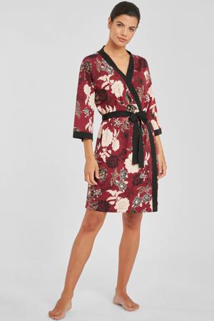 gebloemde kimono donkerrood/zwart