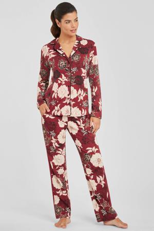 gebloemde pyjama donkerrood