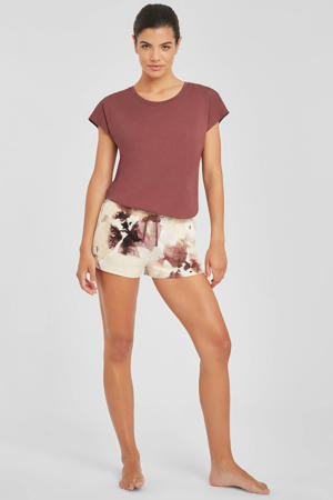 pyjamashort met all over print ecru/rood