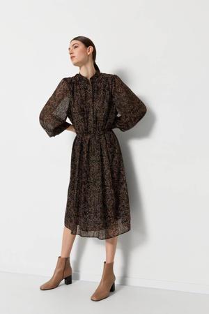 semi-transparante jurk Misanti-inger met all over print en ceintuur zwart/bruin