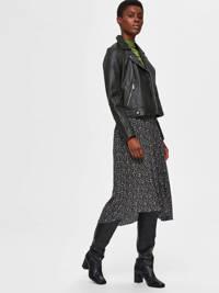 SELECTED FEMME rok met all over print zwart, Zwart