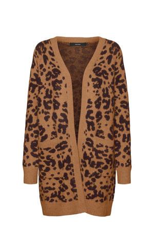 vest met all over print bruin/zwart