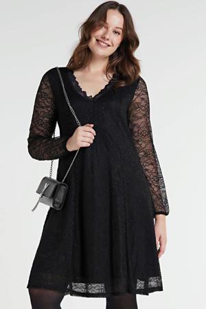 semi-transparante kanten A-lijn jurk Sakila zwart