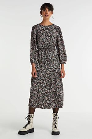 maxi jurk Zille met all over print zwart