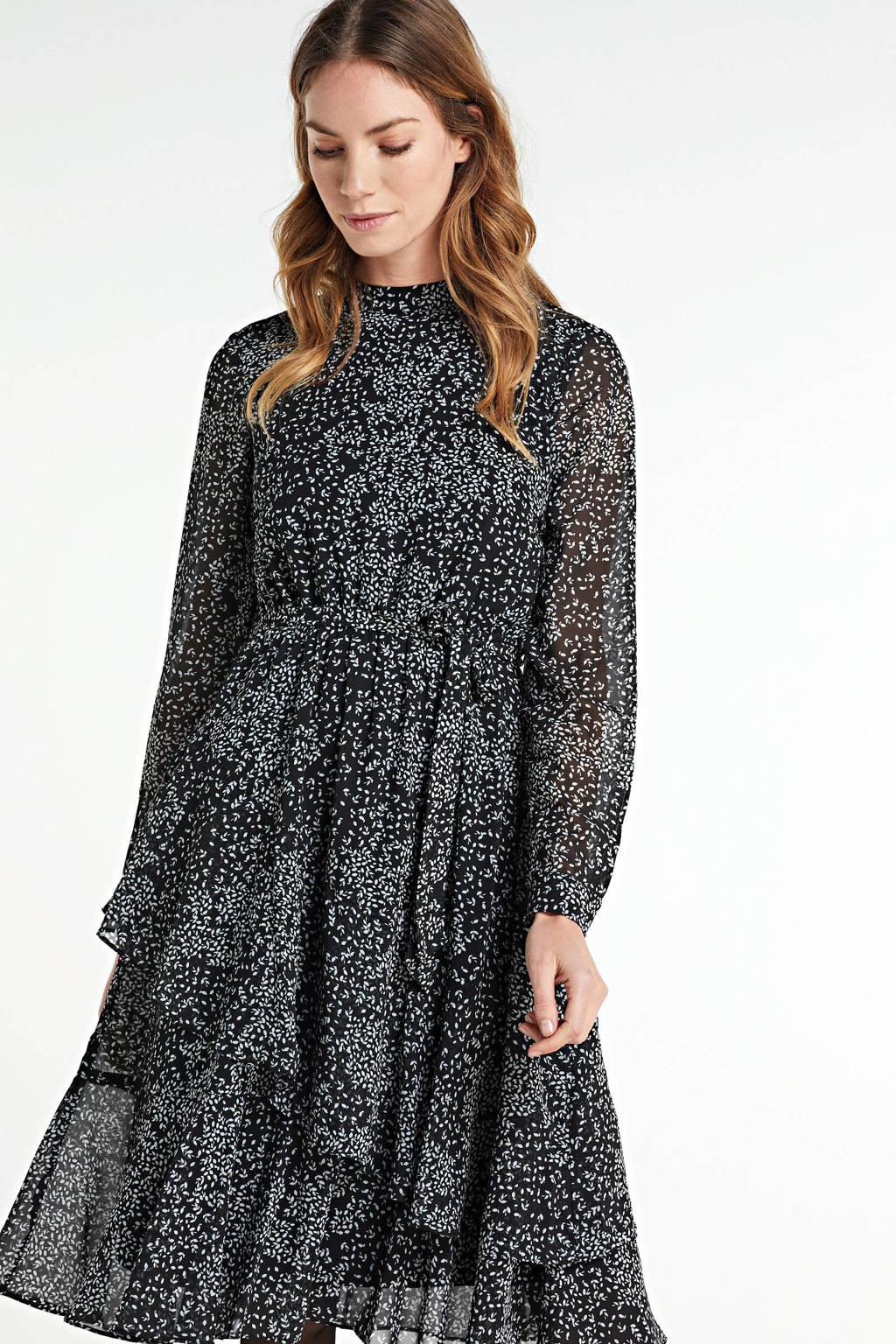VERO MODA jurk Caitlynn met all over print en ceintuur zwart/wit, Zwart/wit