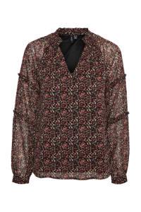 VERO MODA blouse met all over print zwart, Zwart