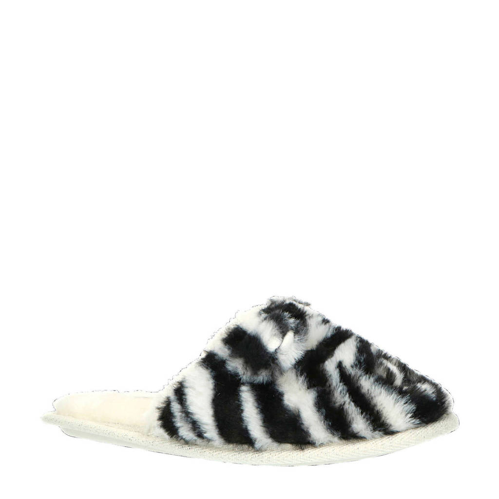 Apollo pantoffels zebraprint, Wit/zwart