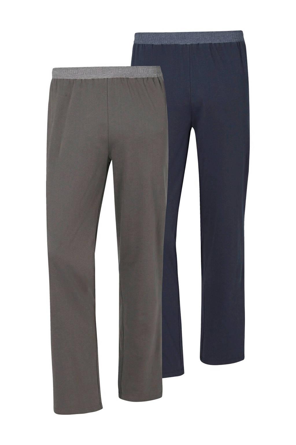 Jan Vanderstorm loose fit joggingbroek Plus Size donkerblauw/grijs (set van 2), Donkerblauw/grijs