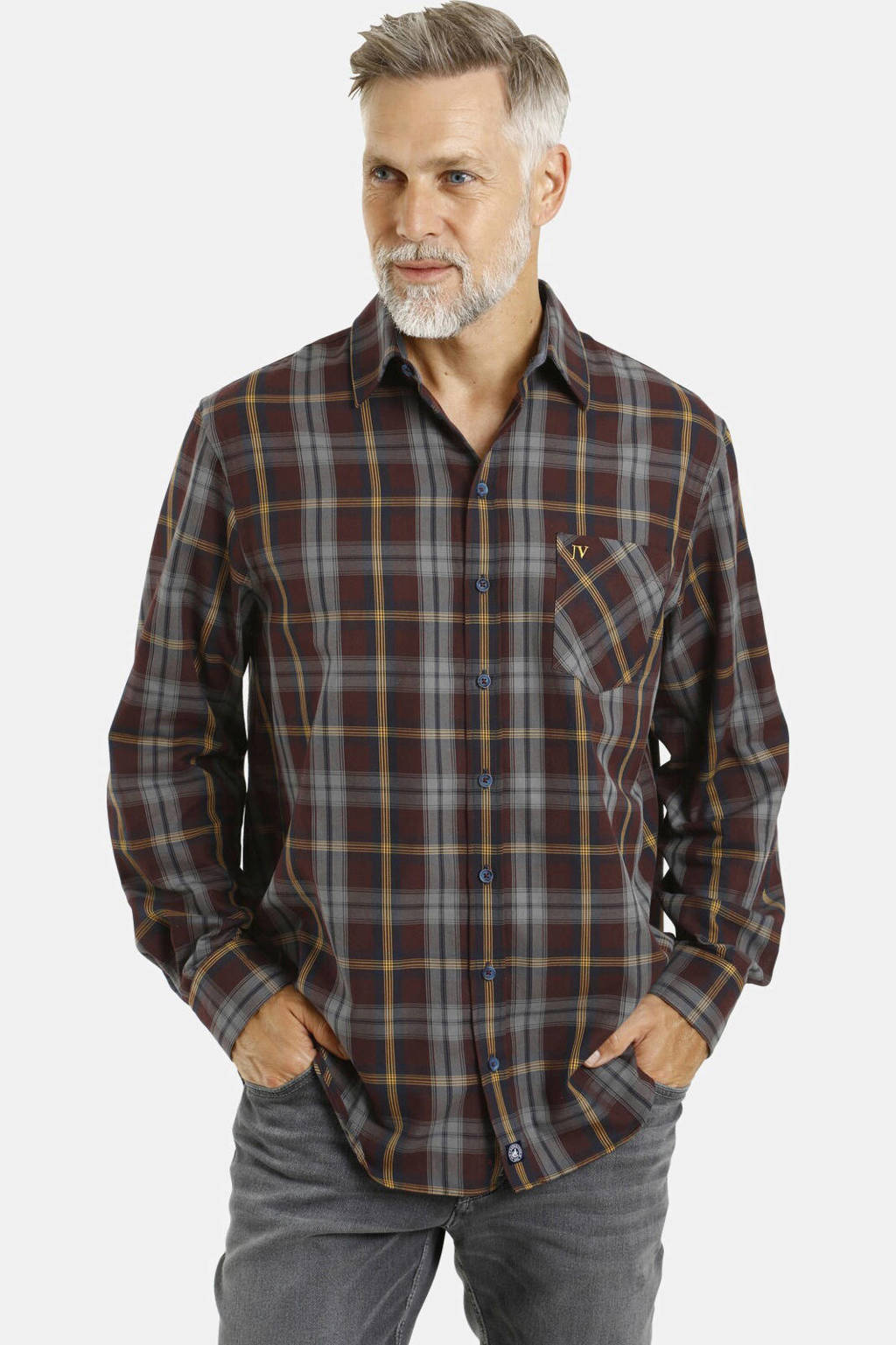Jan Vanderstorm geruit loose fit overhemd Plus Size Truls donkerrood, Donkerrood