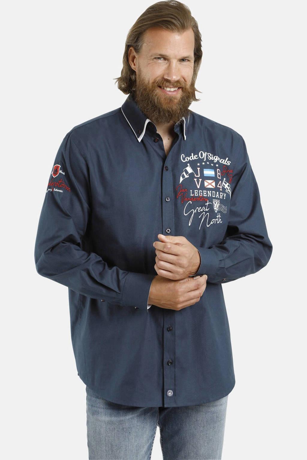 Jan Vanderstorm loose fit overhemd Plus Size Tojah met printopdruk blauw, Blauw