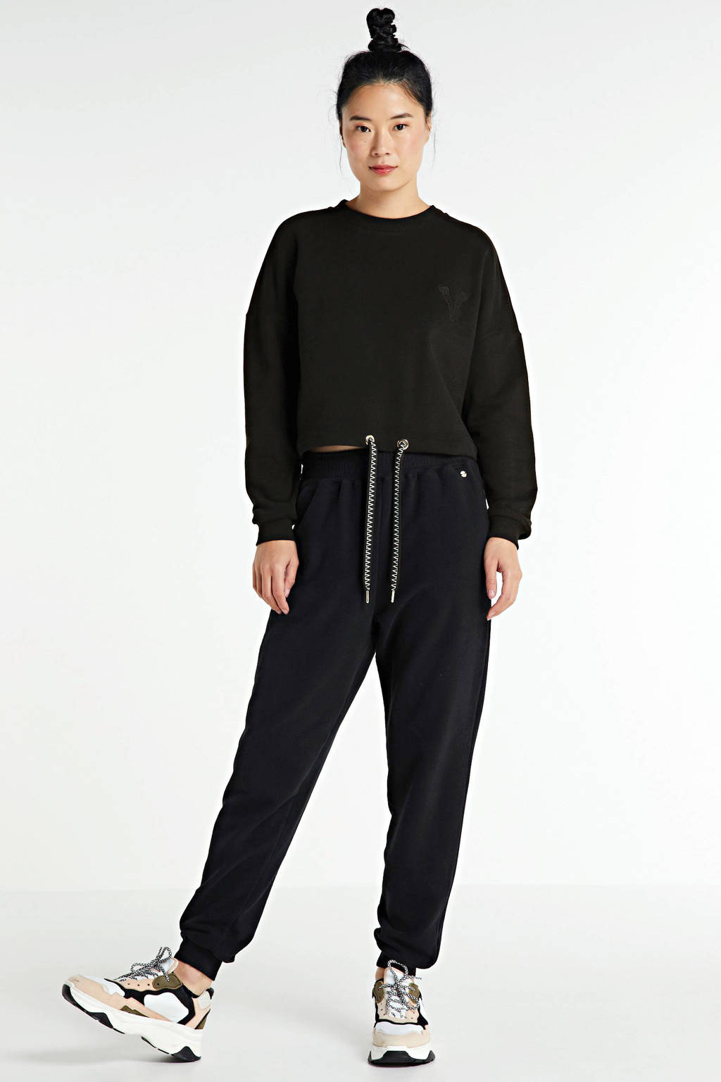 JOSH V high waist straight fit broek PHILI met borduursels zwart, Zwart
