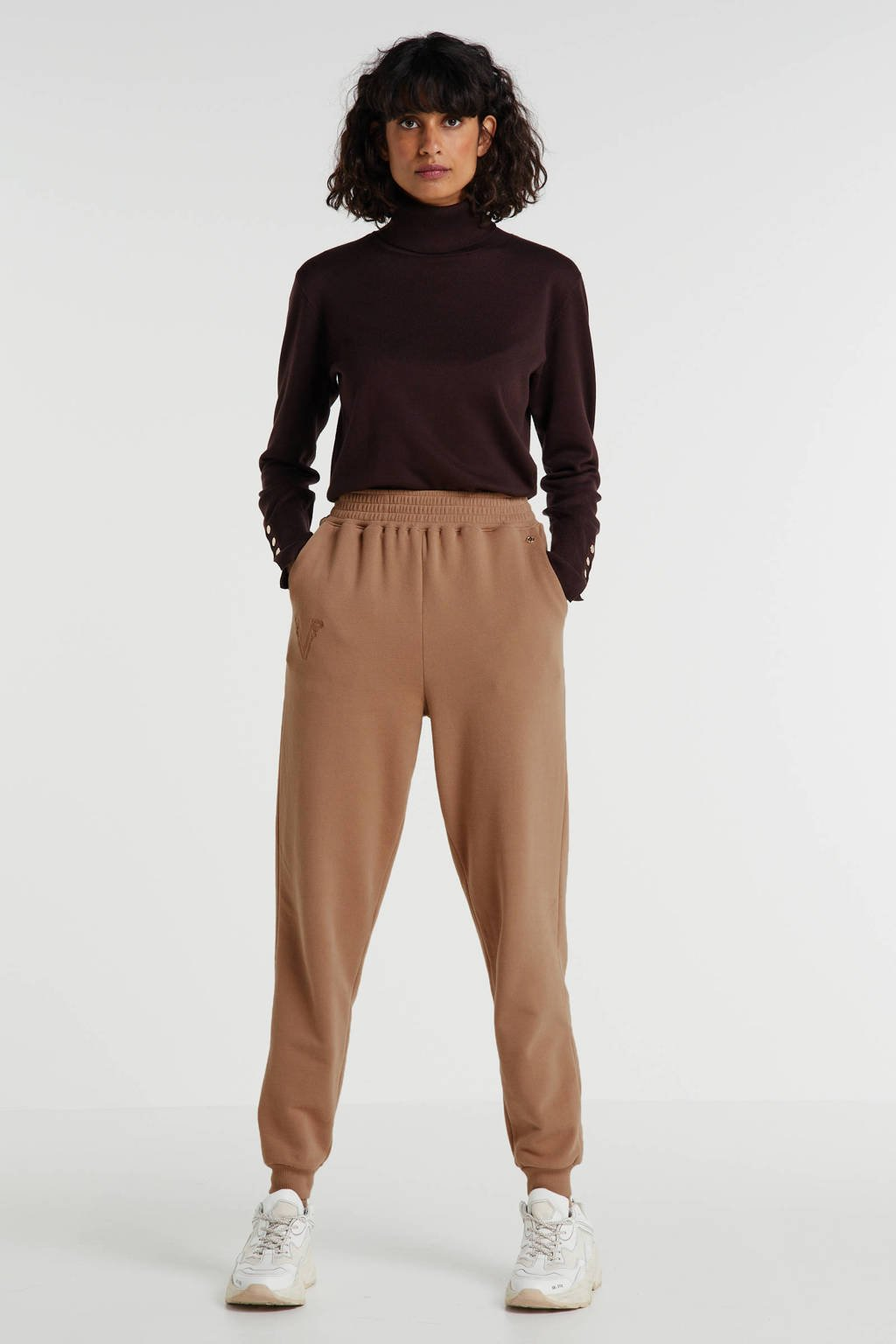 JOSH V high waist straight fit broek PHILI met borduursels camel, Camel