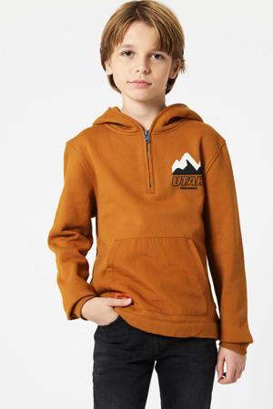 hoodie met printopdruk camel/zwart/wit