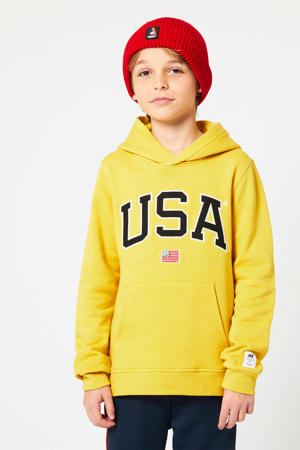hoodie Scottie met logo geel/zwart