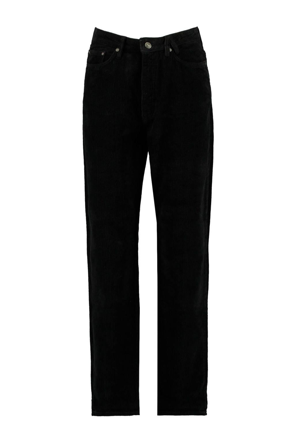 America Today corduroy high waist loose fit broek Jadan zwart, Zwart