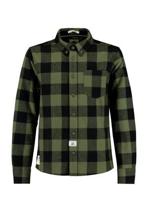 geruit overhemd Brody donkergroen/zwart