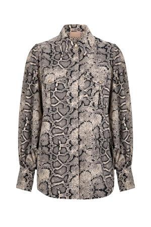 blouse Seffy met slangenprint en plooien zand