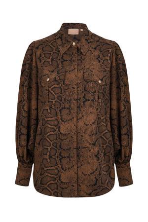blouse Seffy met slangenprint en plooien bruin