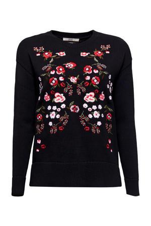 gebloemde gebreide trui zwart/rood/lichtroze