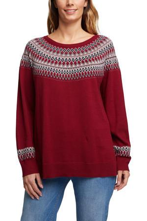 fijngebreide trui van biologisch katoen donkerrood/wit/zwart