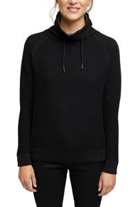 edc Women ribgebreide trui van biologisch katoen zwart, Zwart