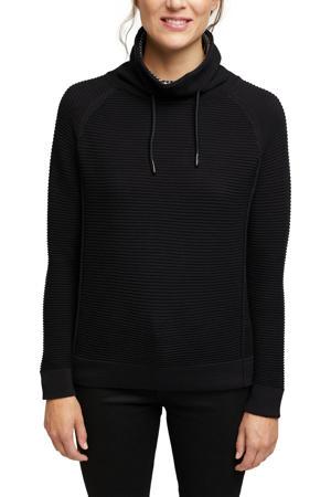 ribgebreide trui van biologisch katoen zwart