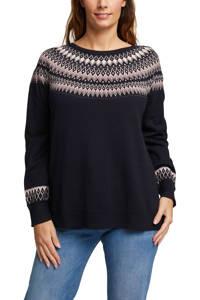 ESPRIT Women Casual fijngebreide trui van biologisch katoen donkerblauw/lichtroze/wit, Donkerblauw/lichtroze/wit