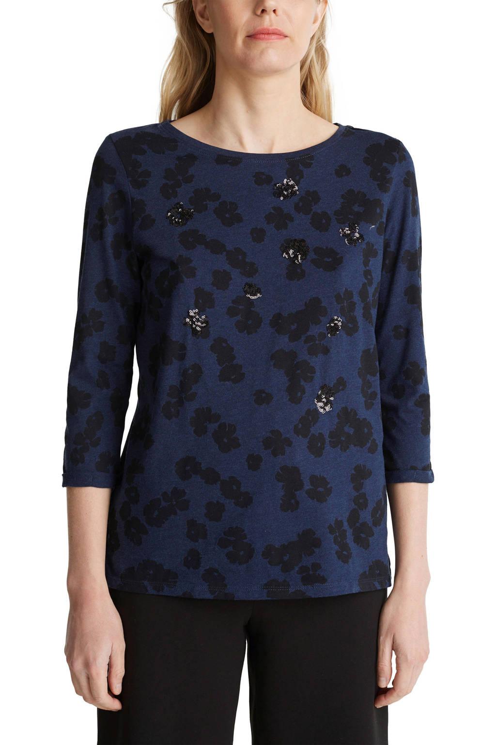 ESPRIT Women Casual top met biologisch katoen donkerblauw/zwart, Donkerblauw/zwart