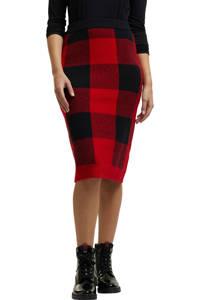 edc Women geruite ribgebreide rok rood/zwart, Rood/zwart
