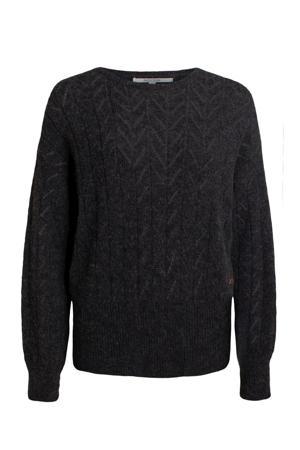 gebreide trui met wol donkerbruin