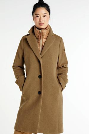 coat met wol dark camel