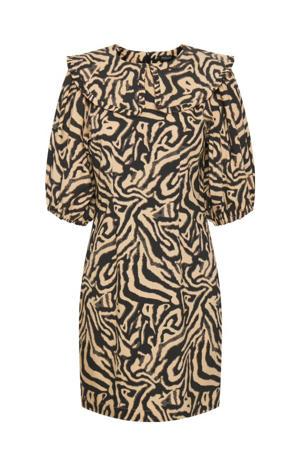 jurk Dolore met all over print beige/zwart