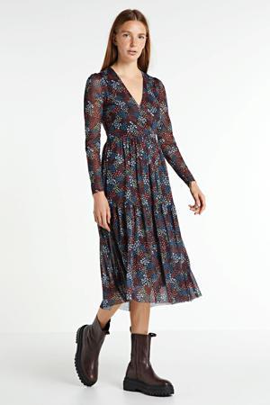 gebloemde jurk van gerecycled polyester donkerrood/multi