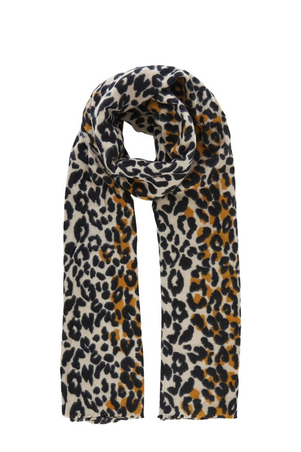 PIECES sjaal met panterprint beige, Beige/zwart