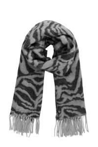 PIECES sjaal met zebraprint grijs, Grijs