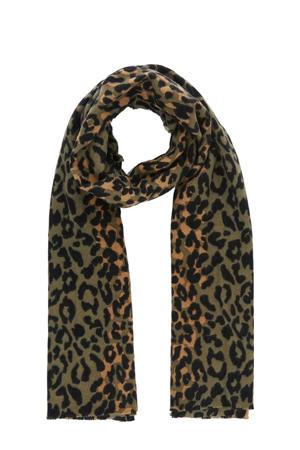 sjaal met panterprint olijfgroen