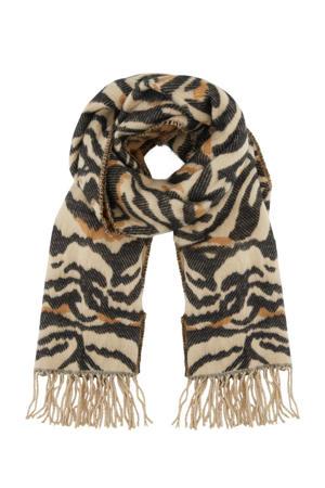 sjaal met zebraprint beige