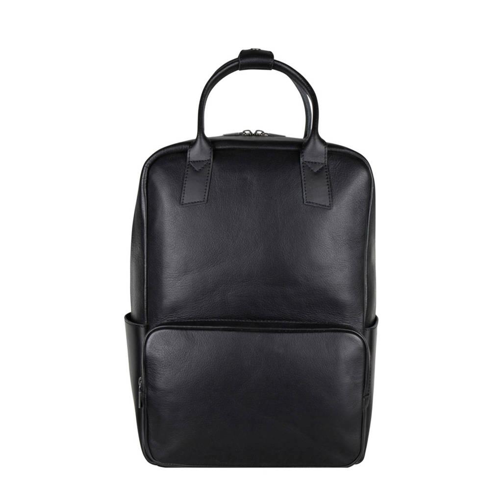 Cowboysbag  15 inch leren rugzak Borris zwart, Zwart