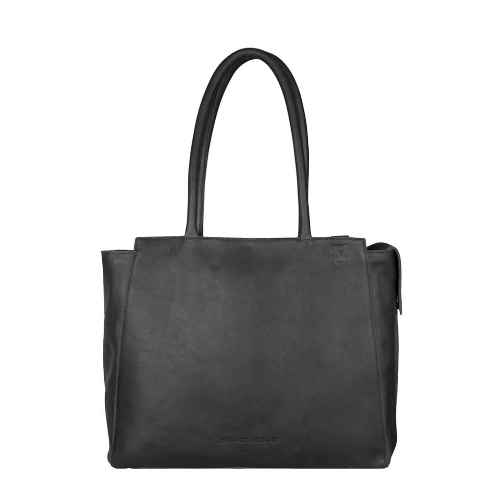 "Cowboysbag  15.6 leren laptoptas 15.6"" Evi zwart, Zwart"