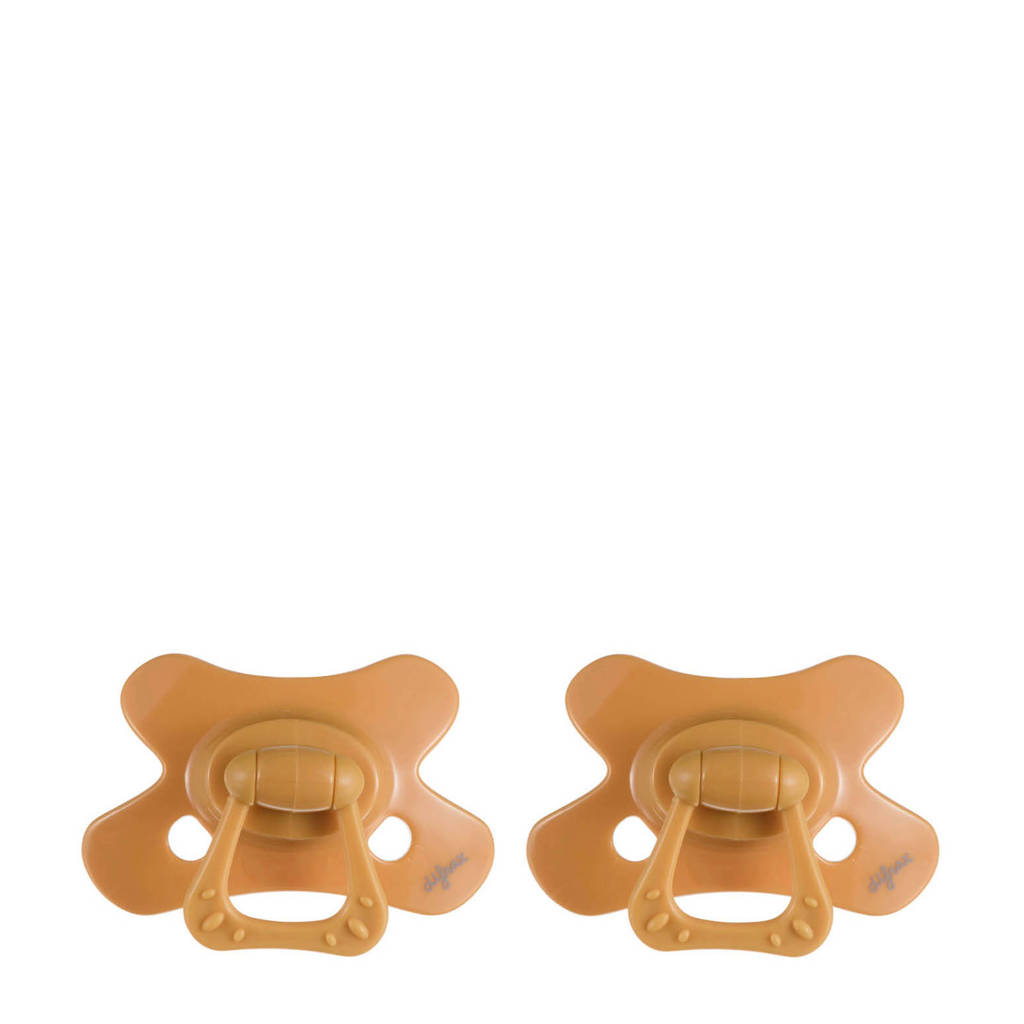 Difrax fopspeen Natural 18+ mnd (2 stuks) - Honey, Vanaf 18 maanden, Geel