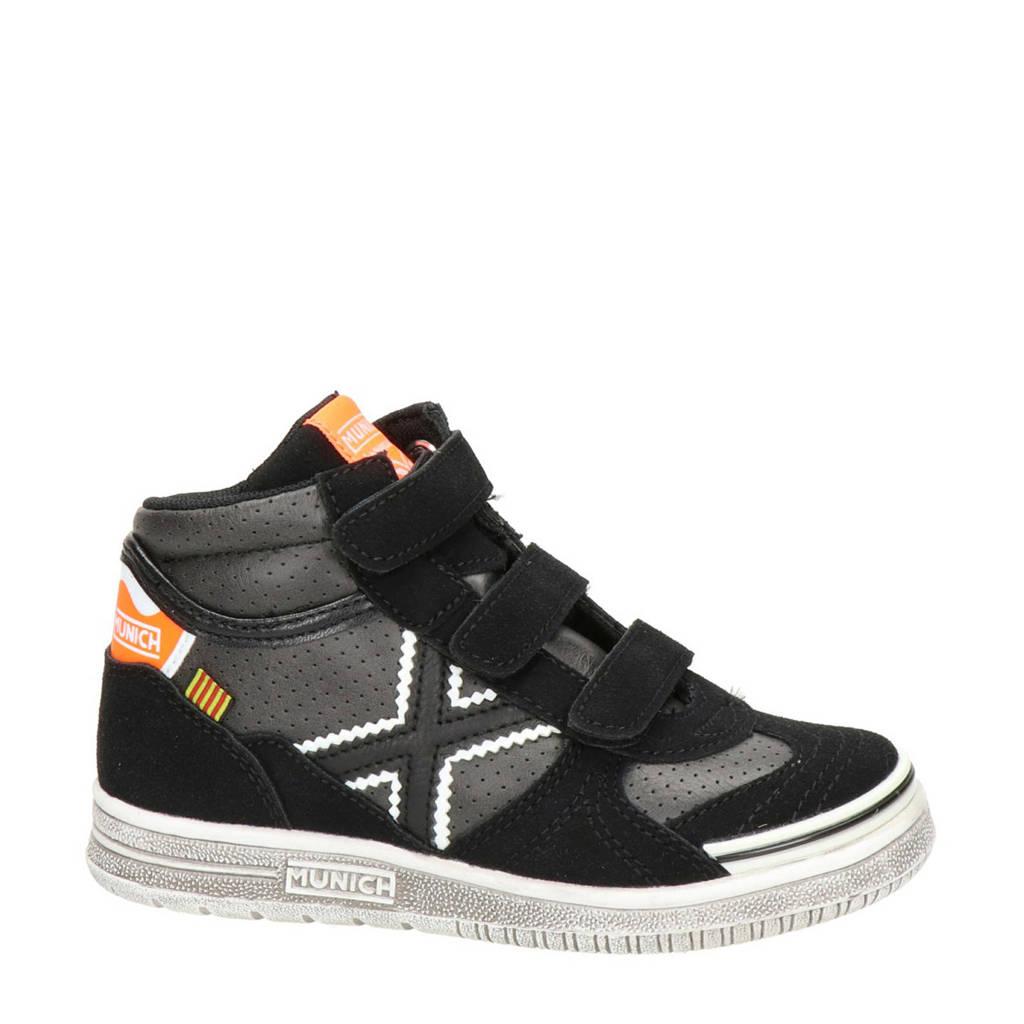 Munich   hoge suède sneakers zwart, Zwart