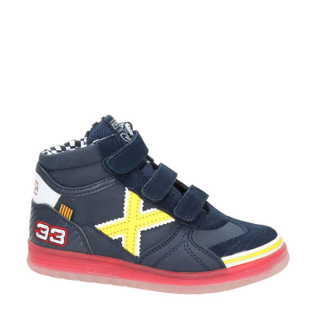 Munich   hoge suède sneakers blauw, Blauw/geel/rood
