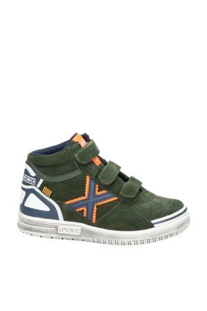 hoge suède sneakers kaki