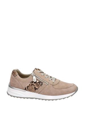 suède sneakers met slangenprint beige
