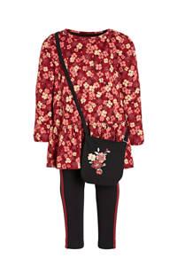 C&A tuniek + legging + tasje donkerrood/zwart, Donkerrood/zwart