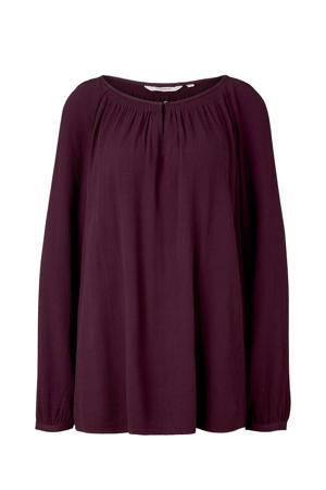 blouse met open detail donkerpaars