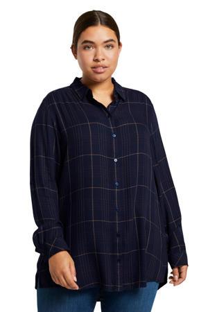 geruite blouse donkerblauw/rood/beige