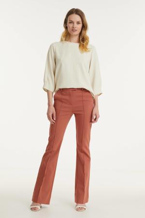 high waist flared broek Jaz roodbruin