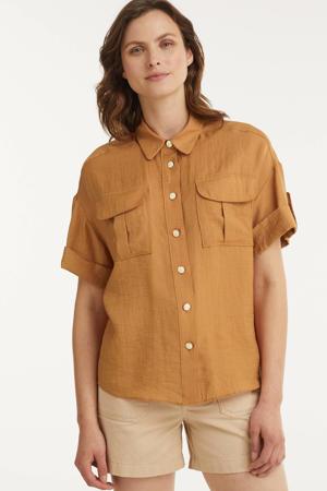 geweven blouse Valin met glitters camel