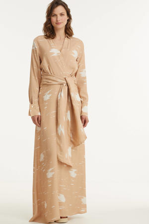 maxi jurk Billy met all over print en ceintuur lichtroze